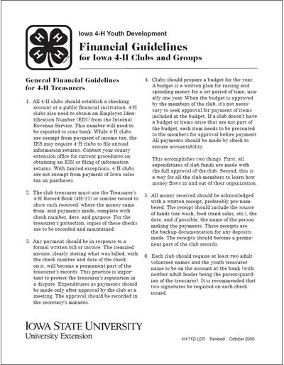Financial Guidelines for Iowa 4-H Clubs and Groups
