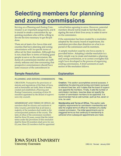 Selecting Members for Planning and Zoning Commissions
