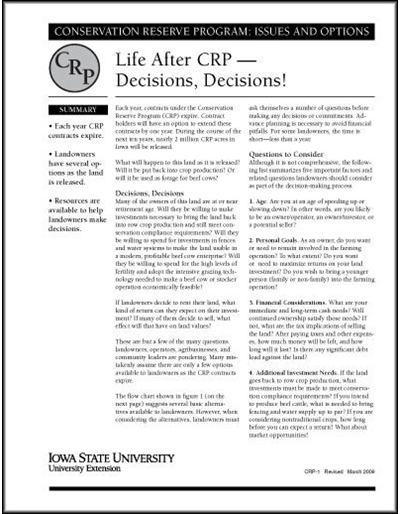 Life After CRP - Decisions, Decisions | Conservation Reserve Program: Issues and Options