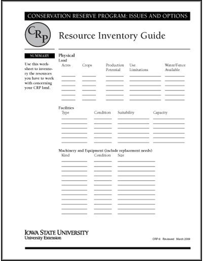 Resource Inventory Guide | Conservation Reserve Program: Issues and Options