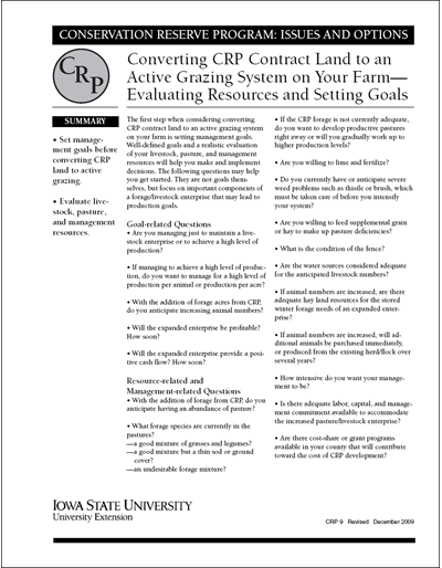Converting CRP Contract Land to an Active Grazing System on Your Farm - Evaluating Resources and Setting Goals | Conservation Reserve Program: Issues and Options