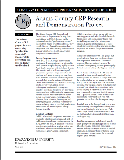Adams County CRP Research and Demonstration Project | Conservation Reserve Program: Issues and Options