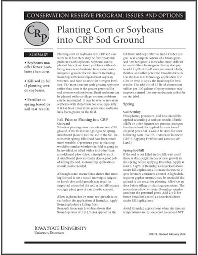 Planting Corn or Soybeans into CRP Sod Ground | Conservation Reserve Program: Issues and Options