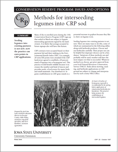 Methods for Interseeding Legumes into CRP Sod   Conservation Reserve Program: Issues and Options