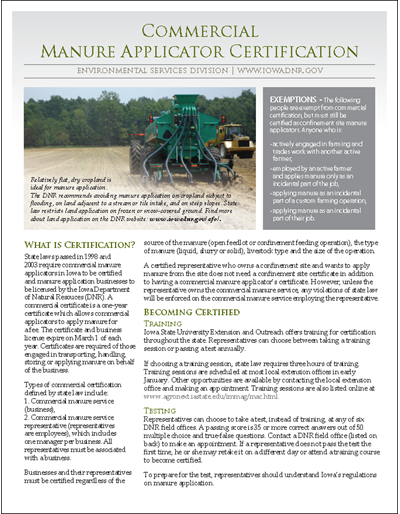 DNR Commercial Manure Applicator Certification Fact Sheet: MAC - Manure Applicator Certification