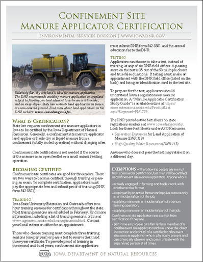 DNR Confinement Site Manure Applicator Certification Fact Sheet: MAC - Manure Applicator Certification