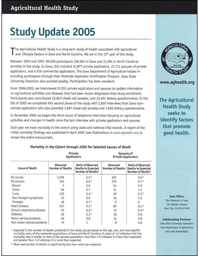 Agricultural Health Study -- Study Update 2005