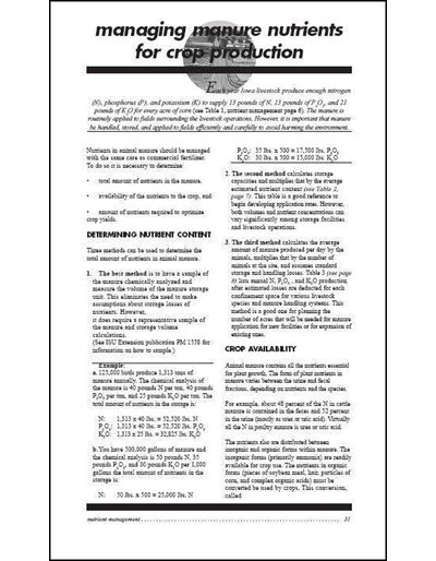 Confinement Site Manure Applicator Study Guide -- Chapter 4: Managing Manure Nutrients for Crop Production