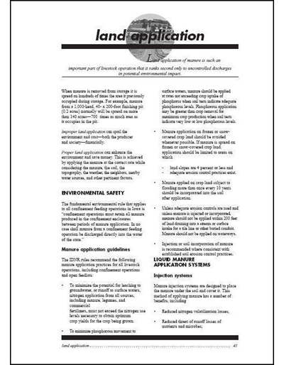 Confinement Site Manure Applicator Study Guide -- Chapter 5: Land Application