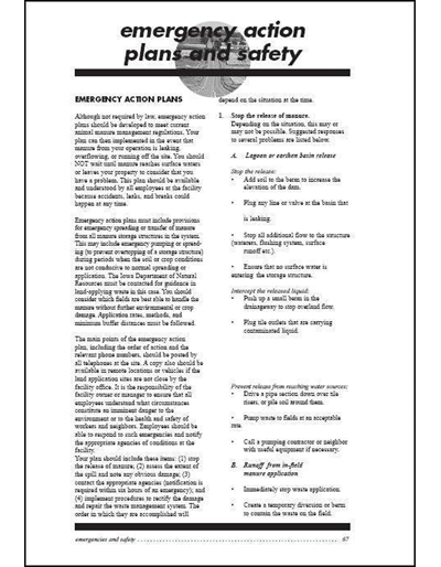 Confinement Site Manure Applicator Study Guide -- Chapter 6: Emergency Action Plans and Safety