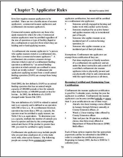 Confinement Site Manure Applicator Study Guide -- Chapter 7: Applicator Rules