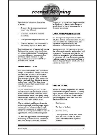 Confinement Site Manure Applicator Study Guide -- Chapter 8: Record Keeping