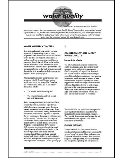 Commercial Manure Applicator Certification Study Guide Chapter 2: Water Quality