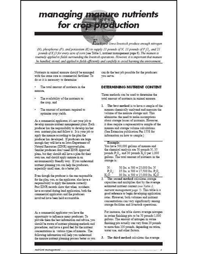 Commercial Manure Applicator Certification Study Guide Chapter 3: Managing Manure Nutrients for Crop Production