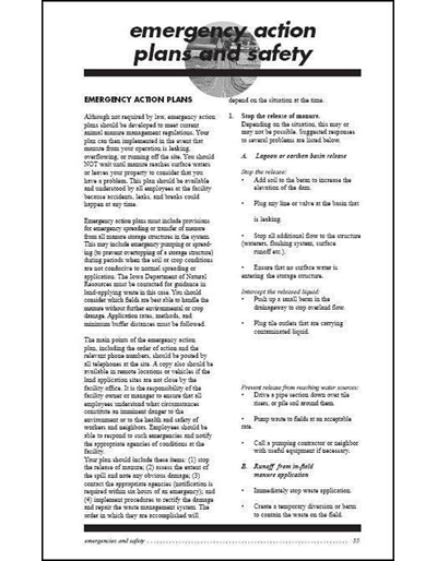 Commercial Manure Applicator Certification Study Guide Chapter 5: Emergency Action Plans and Safety