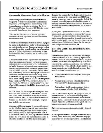 Commercial Manure Applicator Certification Study Guide Chapter 6: Applicator Rules