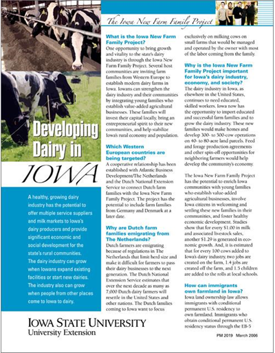 Developing Dairy in Iowa: The Iowa New Farm Family Project