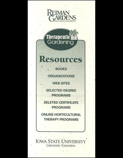 Therapeutic Gardening: Resources -- Reiman Gardens