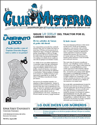 "Sigue Las Huellas Del Tractor por el Camino Seguro -- El Club Misterio | Spanish version of ""The Mystery Club"""