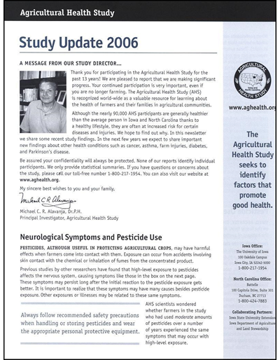 Agricultural Health Study -- Study Update 2006