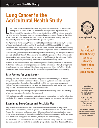 Lung Cancer in the Agricultural Health Study -- Agricultural Health Study