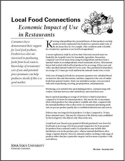 Local Food Connections -- Economic Impact of Use in Restaurants