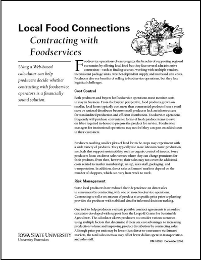 Local Food Connections -- Contracting with Foodservices