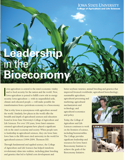 Leadership in the Bioeconomy -- Iowa State University College of Agriculture and Life Sciences