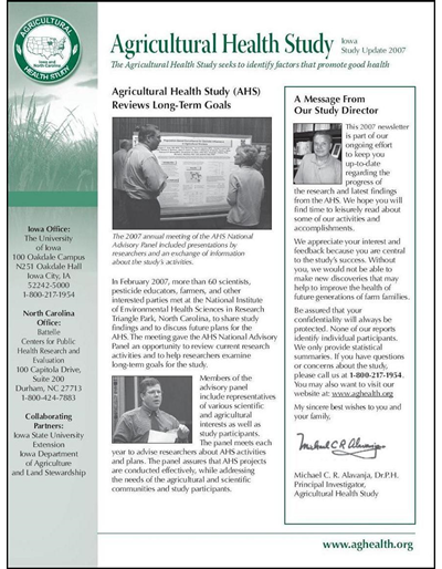 Agricultural Health Study: Iowa Study Update 2007