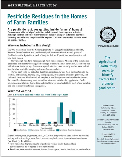 Agricultural Health Study: Pesticide Residues in the Homes of Farm Families