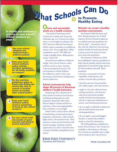 What Schools Can Do to Promote Healthy Eating