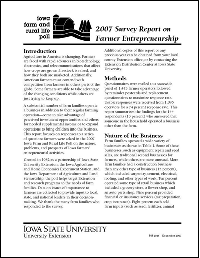 Iowa Farm and Rural Life Poll 2007 Survey Report on Farmer Entrepreneurship