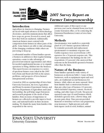 Iowa Farm and Rural Life Poll 2007 Survey Report on Farmer Entrepreneurship