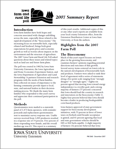 Iowa Farm and Rural Life Poll: 2007 Summary Report