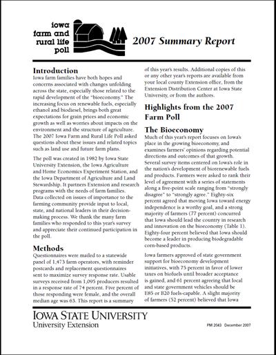 Iowa Farm and Rural Life Poll: 2007 Summary Report
