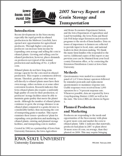 Iowa Farm and Rural Life Poll 2007 Survey Report on Grain Storage and Transportation