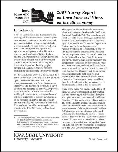 Iowa Farm and Rural Life Poll 2007 Survey Report on Iowa Farmers' Views on the Bioeconomy