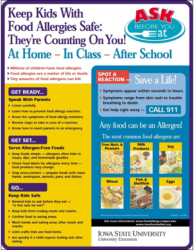 Keep Kids With Food Allergies Safe: They're Counting On You! At Home-In Class-After School  Ask Before You Eat