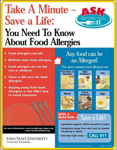 Take A Minute - Save a Life: You Need To Know About Food Allergies  Ask Before You Eat