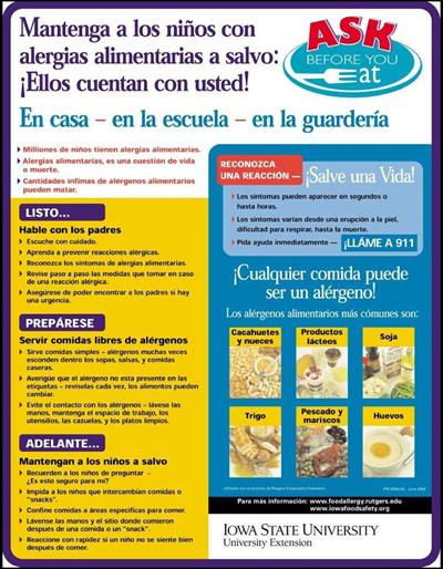 Mantenga a los niños con alergias alimentarias a salvo: ¡Ellos cuentan con usted! En casa-en la escuela-en la guardería  Ask Before You Eat