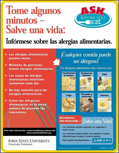 Tome algunos minutos - Salve una vida: Infórmese sobre las alergias alimentrias  Ask Before You Eat