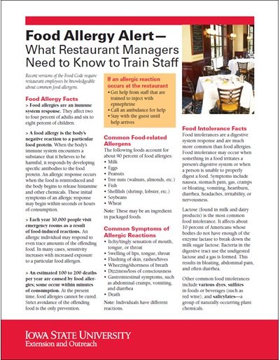 Food Allergy Alert - What Restaurant Managers Need to Know to Train Staff