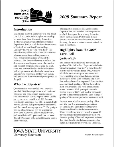 Iowa Farm and Rural Life Poll: 2008 Summary Report