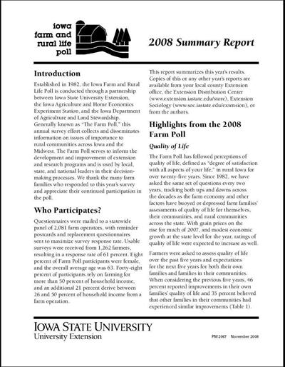 Iowa Farm and Rural Life Poll: 2008 Summary Report