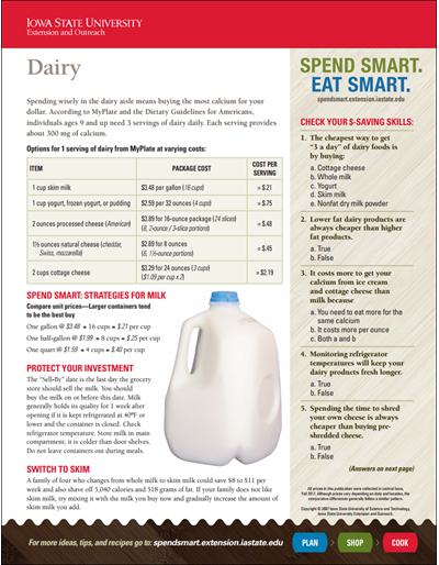 Spend Smart. Eat Smart. -- Dairy