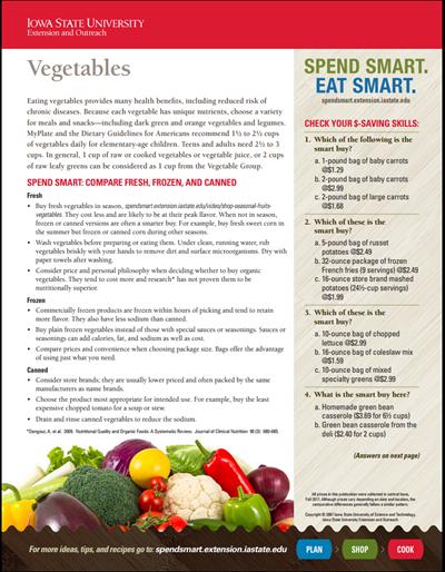 Spend Smart. Eat Smart. -- Vegetables