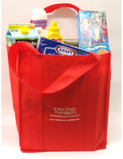 ISU Extension and Outreach re-useable Red shopping bags
