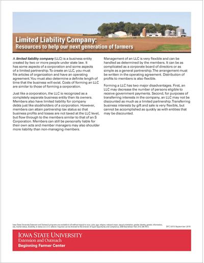Limited Liability Company: Resources to help our next generation of farmers - Beginning Farmer Center