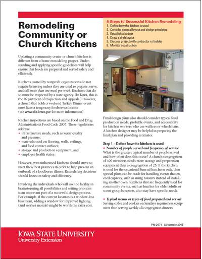 Remodeling Community or Church Kitchens