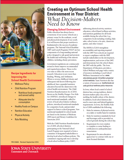 Creating the Optimum School Health Environment in Your District: What Decision-Makers Need to Know